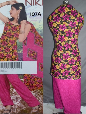 Picture of 107A Black and Magenta Printed Salwar Suit