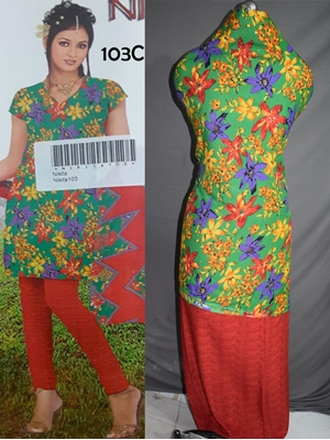 Picture of 103C Green and Red Printed Salwar Suit