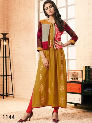 Picture of 1144 Dark Yellow Designer Western Style Gown