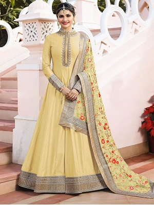 Picture of 7174B Lemon Yellow Designer Anarkali Replica Suit