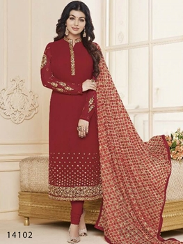 Picture of 14102 Red Designer Georgette Straight Suit