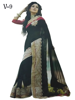 Picture of V9 Black Designer Georgette Saree