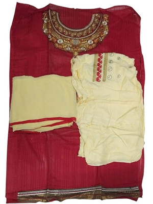 Picture of Red Designer Patiala Suit
