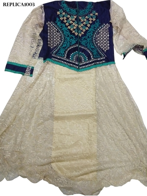 Picture of 1003 Blue and Offwhite Designer Anarkali Replica Suit