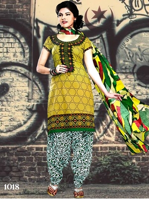 Picture of 1018 Olive Designer Patiala Suit