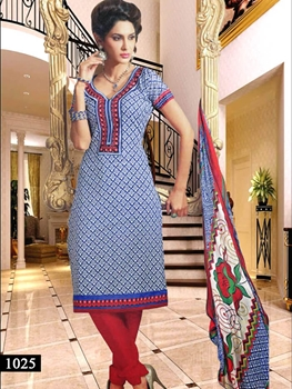 Picture of 1025 Blue and White Designer Straight Suit