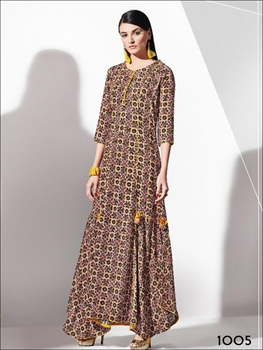 Picture of 1005 Yellow and Multicolor Designer Rayon Kurti