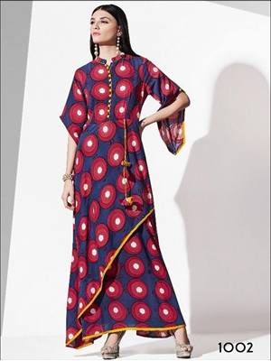Picture of 1002 Blue and Red Designer Rayon Kurti