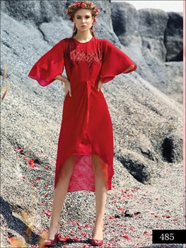 Picture of 485 Red Designer Faux Georgette Stitched Kurti