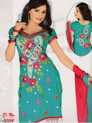 Picture of 1004 Sea Green and Crimson Georgette Straight Suit