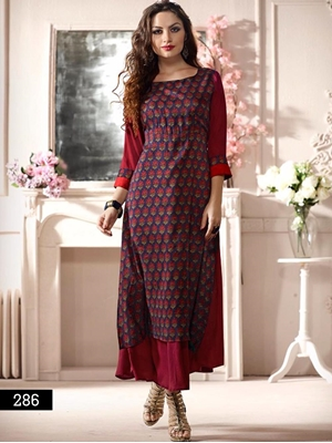 Picture of 286 Maroon and Red Designer Stitched Gown