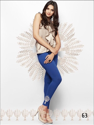 Picture of 63 Blue Embroidered Cotton Lycra Leggings
