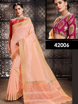 Picture of 42006 Light Peach Designer Function Wear Saree
