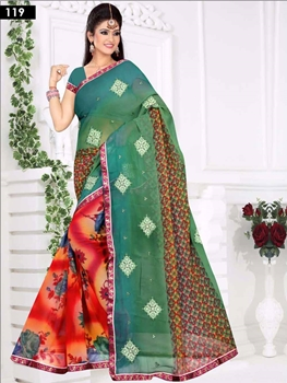 Picture of 119 Green and Multicolor Designer Saree