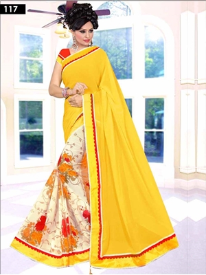 Picture of 117 Yellow Designer Saree