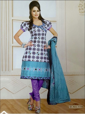 Picture of 114 White and Gray Printed Salwar Suit
