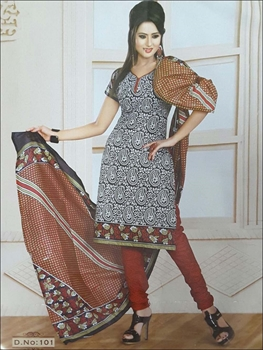 Picture of 101 White and Black Printed Salwar Suit
