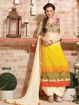 Picture of 3014 Cream and Yellow Designer Straight Suit