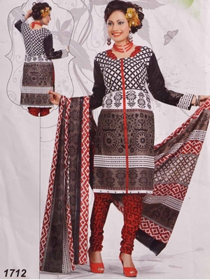 Picture of 1712 White and Black Printed Salwar Suit