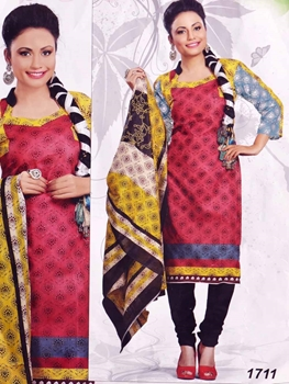 Picture of 1711 Red Printed Salwar Suit