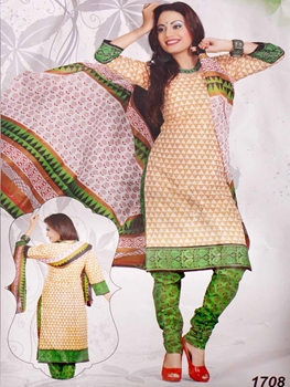 Picture of 1708 Cream Printed Salwar Suit