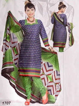 Picture of 1707 Dark Blue Printed Salwar Suit