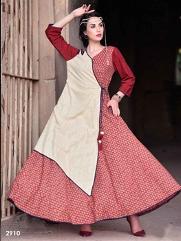 Picture of 2910 Red Designer Trendy Kurti