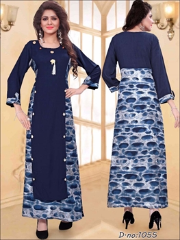 Picture of 1055 Dark Blue Designer Kurtis