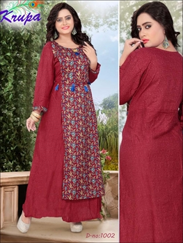 Picture of 1002 Dark Red Designer Kurtis