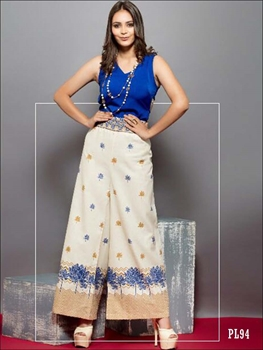 Picture of 94 Cream Printed Palazzo Pant