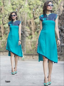 Picture of 7009 Peacock Green Stitched Rayon Kurti