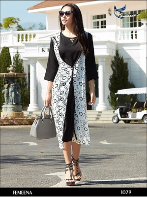 Picture of 1079 White Designer Georgette Kurti