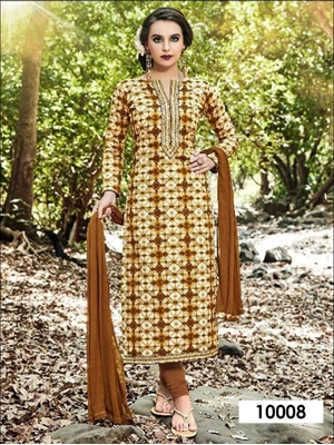 Picture of 10008 Cream and Multicolor Designer Straight Suit