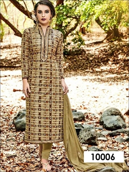 Picture of 10006 Khaki and Multicolor Designer Straight Suit