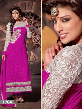 Picture of 1704 Magenta Georgette Designer Suit