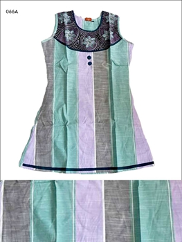Picture of 066A Sea Green and Lavender Designer Cotton Kurtis