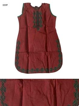 Picture of 059F Dark Red Designer Cotton Kurtis
