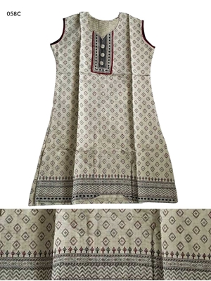 Picture of 058D Off White and Green Designer Cotton Kurtis