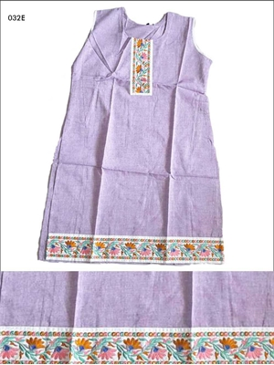 Picture of 032E Lavender Designer Cotton Kurtis