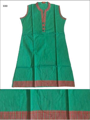 Picture of 030 Green Cotton Kurtis Designer Cotton Kurtis