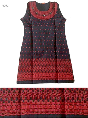 Picture of 026C Red and Black Designer Cotton Kurtis