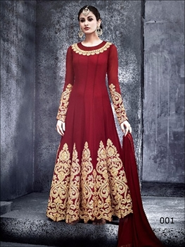 Picture of Red Designer Georgette Anarkali Replica Suit