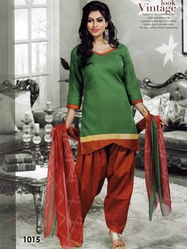 Picture of 1015 Green Colored Mix Cotton Patiala Suit