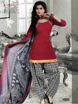 Picture of 1005 Dark Red Colored Mix Cotton Patiala Suit