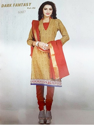 Picture of 6007Brown And Red Designer Straight Suit