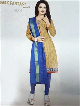 Picture of 6006Brown And Blue Designer Straight Suit
