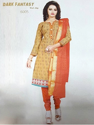 Picture of 6005Brown And Orange Designer Straight Suit