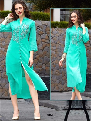 Picture of 1065 Aqua Marine Designer Party Wear Kurti