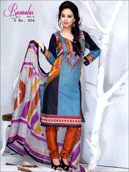 Picture of 006Firozi blue and Black Printed Salwar Suit