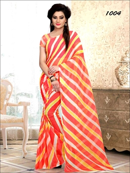 Picture of 1004 Red Printed Laheriya Saree